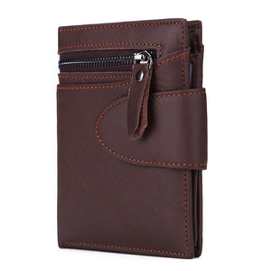 Genuine Leather Zippered Buckle Men's Wallets