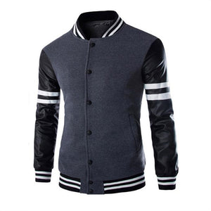 Sleeve Stitching Letter Print Jacket Men's Outerwear