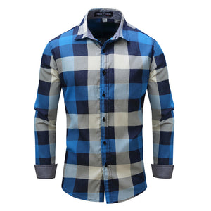 Long-sleeved Jeans With Loose Checks Men's Shirt
