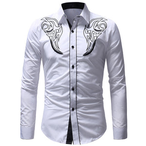 Totem Embroidery Self-cultivation Men's Shirt