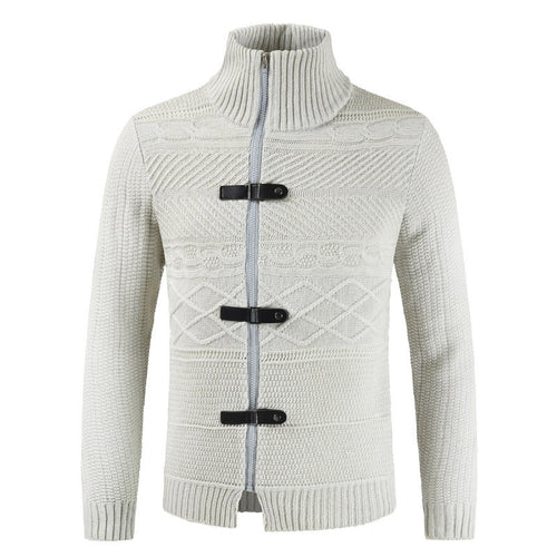 Open-top Button Zipper Half-high Collar Men's Sweater