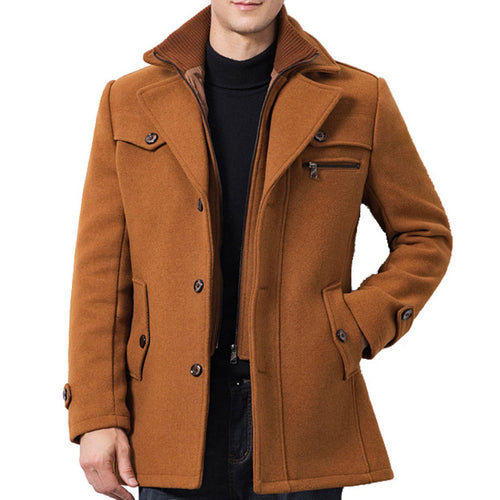 Wool Blends Lapel Single-Breasted Pure Color Men's Trench Coat