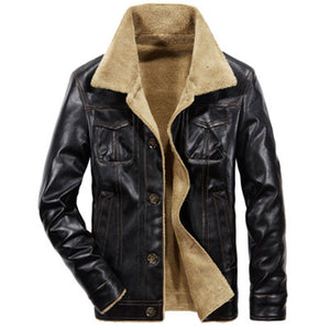 PU Single-Breasted Lapel Plain Men's Leather Coat