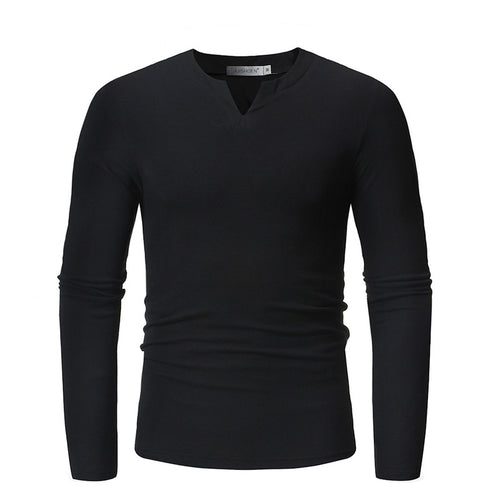 V-collar Long Sleeve Pure Color Comfort Men's Sweatshirt