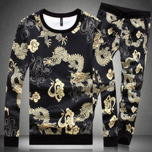 Long Sleeves Wind Dragon Printing Self-cultivation Men's Sports Suit
