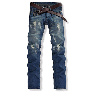 Hole Printing Casual Worn Cotton Men's Jeans
