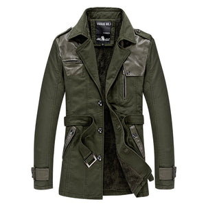 Turn-down Collar Patchwork Comfortable Men's Trench Coat