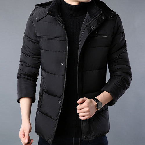 Casual Thickened Cotton Blends Zippered Men's Down Coats