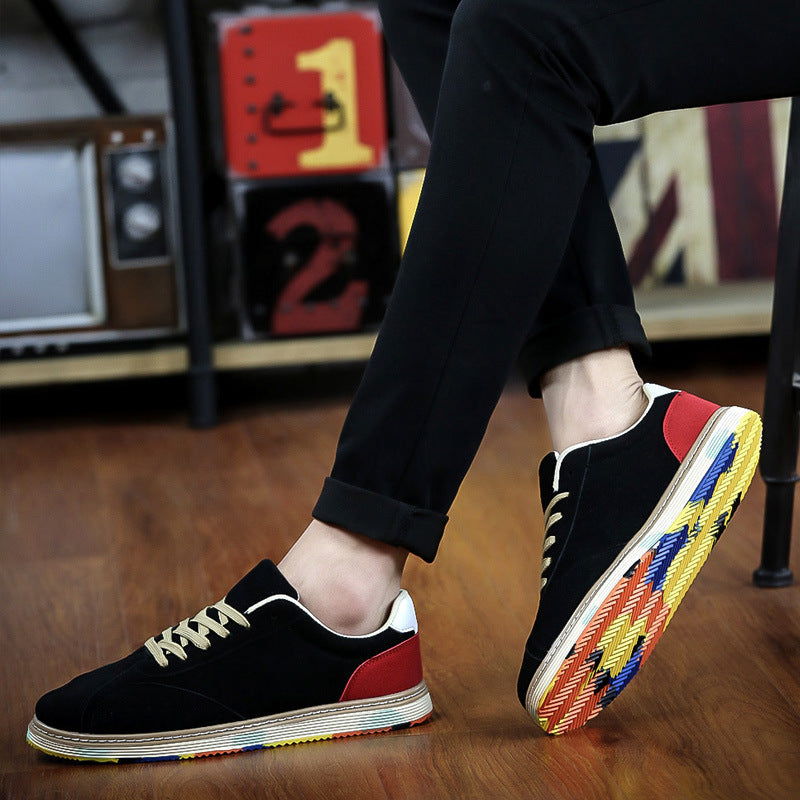 Breathable Patchwork Lace Up Men's Flat Shoes
