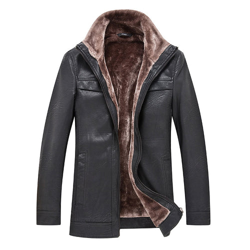 PU Plain Zipper Pocket Lapel Men's Leather Coat