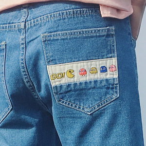 Cartoon Embroidered Denim Shorts