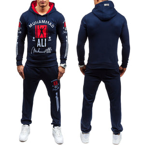 Cardigan Sweater Hooded Dress Men's Sports Suits