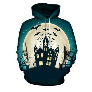 Long Sleeve Hooded Bat Geometric Geometric Men's Hoodies