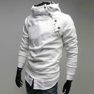 Stand Collar Pullover Asymmetric Men's Hoodies