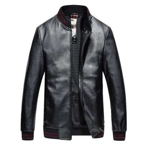 Brief Long Sleeve Windproof Men's Leather Coat