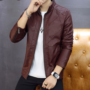 Cultivate Oneself Pure Color Casual Men's Leather Coat