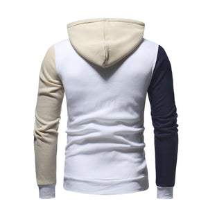 Two-color Splicing Pure-color Drawstring Men's Hoodie