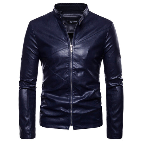 Solid Color Stand Collar PU Men's Leather Coat