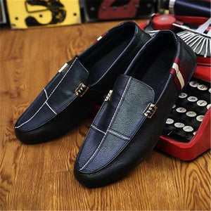 Slip-On Stitching PU Leather Loafers