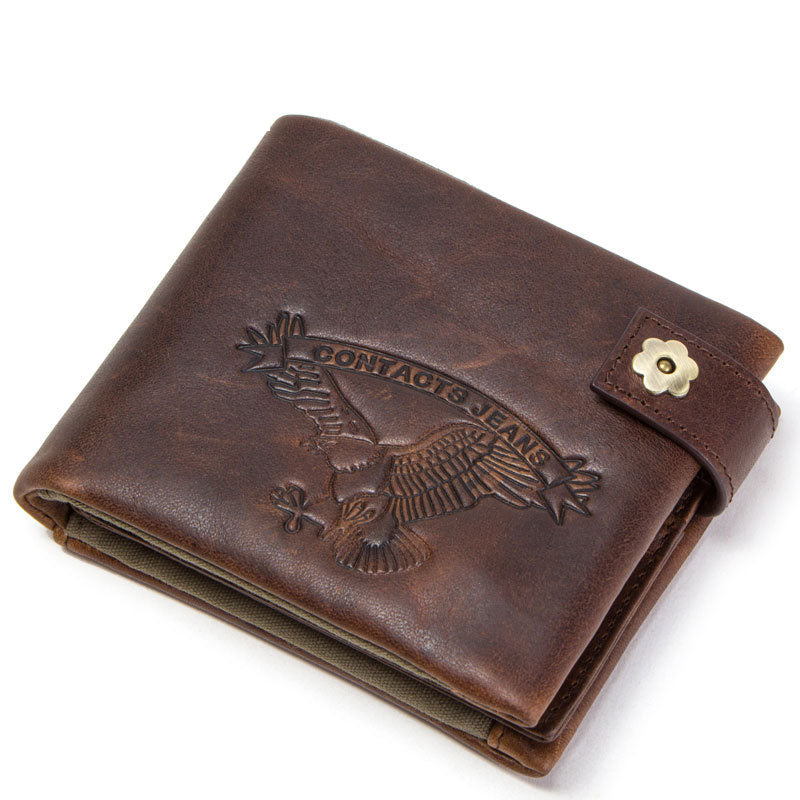 Cow Leather Tri-fold  Buckle Men's Wallets