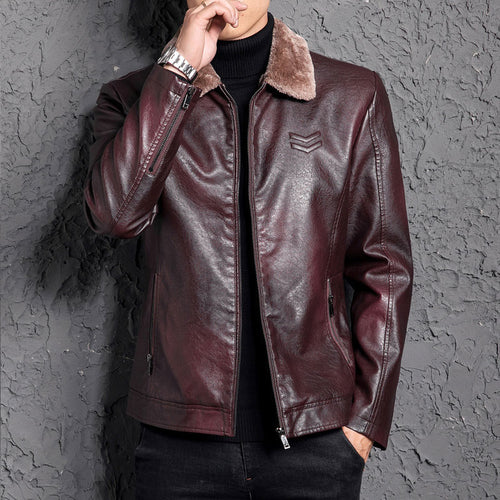 Punk Zippered Turn-down Collar Men's Leather Coat