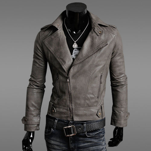 Plus Size Asymmetric Stand Collar Men's Leather Coat