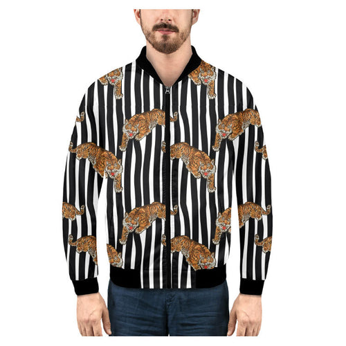 Striped Long Sleeve Zippered Turn-down Collar Men's Shirt