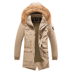 With Velvet Thickened Brief Men's Parka Jacket