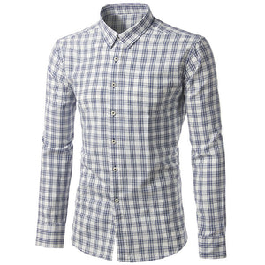 Lattice Pattern Oversize Cotton Blends Men's Shirts