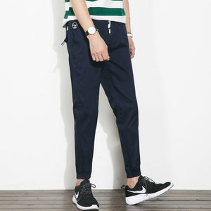 Casual Cotton Ankle Banded Pants