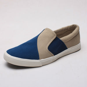 Color Block Slip On Flat Men's Canvas Shoes
