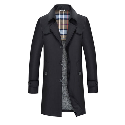 Casual With Velvet Plus Size Pure Color Men's Trench Coat
