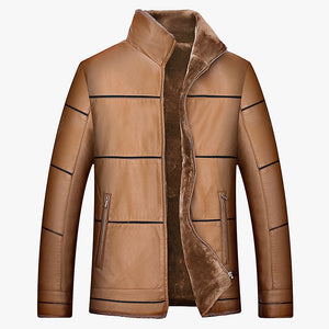 Casual Work Super Warm Men's Leather Coat