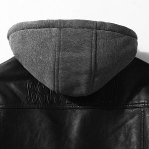 Pure Color Long Sleeve Hooded Men's Pleather Coat