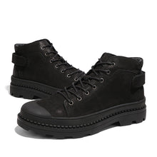 Black Machine Sewing Thread Lace-Up Men's Boots