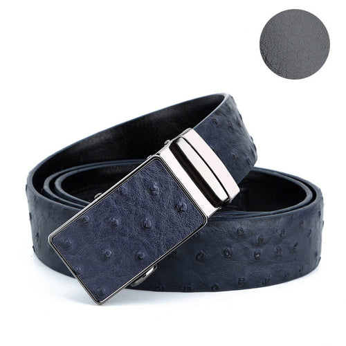 Ostrich Genuine Leather Automatic Buckle Men's Belts