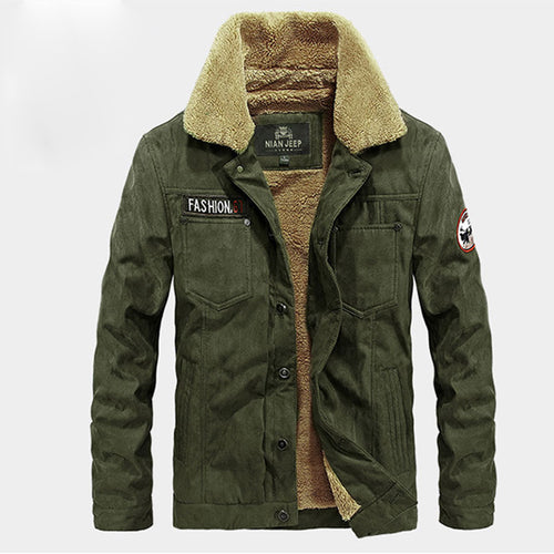 Solid Color Lapel Thickened Loose Polyester Men's Parka Jacket