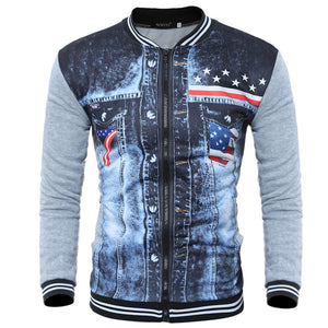 Printed Collar With Long Sleeves Men's Coat