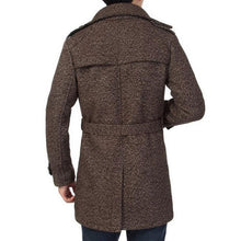 Belt Lapel Wool Blends Warm Plus Size Single-Breasted Men's Trench Coat