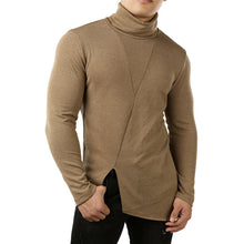 Pure-color Knitted Pile Collar Fork Men's Sweater