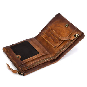 Retro Double Zippered Coin Purse Men's Wallets