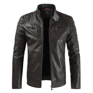 Thickened Rigid Collar Zipper Men's Pleather Coat