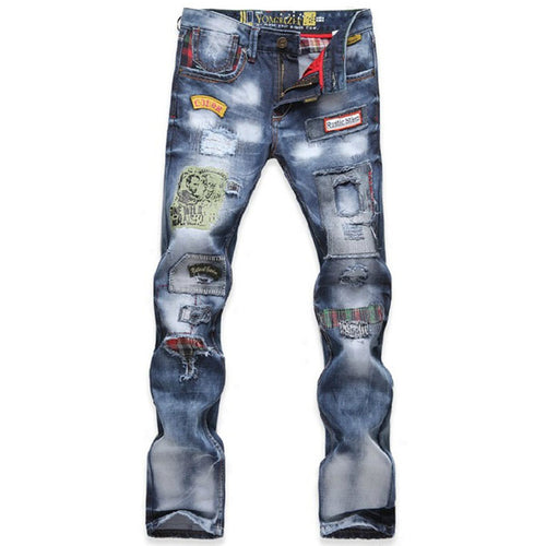 Long Pants Hole Straight Pants Casual Cotton Men's Jeans