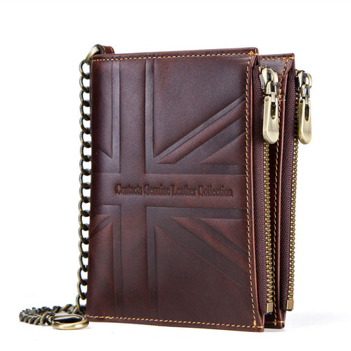 Double Zippered RFID Short Paragraph Men's Wallets