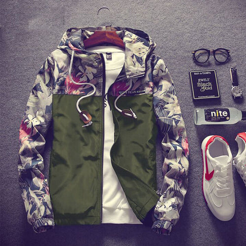 Color Block Cotton Hooded Casual Men's Jackets Coat