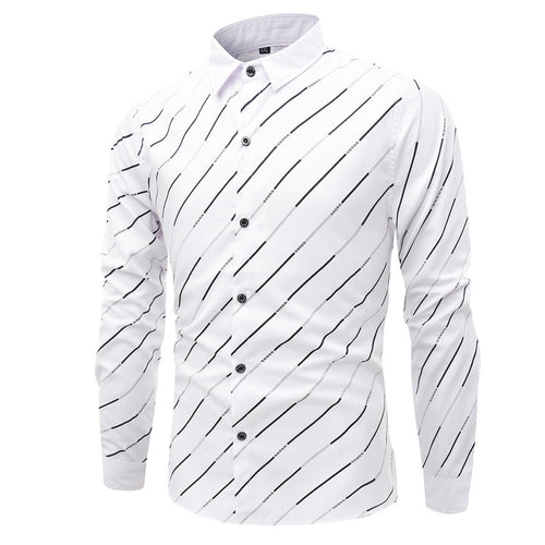 Diagonal Stripe Men's Long-sleeved Shirts