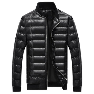 PU Thickened Zippered Polyester Casual Men's Puffer Jacket