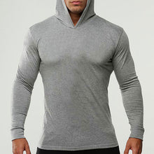 Pure Color Long Sleeve Cotton Hooded Men's Shirt