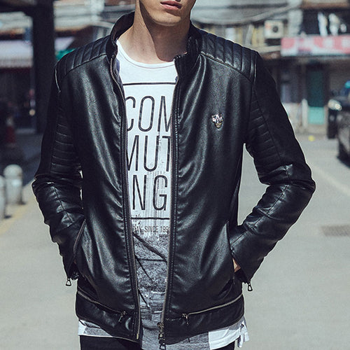 PU Self-cultivation Personality Short Collar Men's Leather Coat