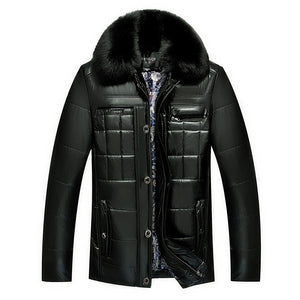 Thickened PU Grid Polyester Fur Collar Men's Leather Coat